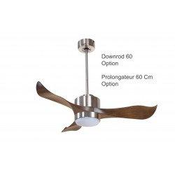 Ventilatore da soffitto, Modulo, 106cm, cromo/legno, con luce, destratificatore, iper-silenzioso, Klassfan