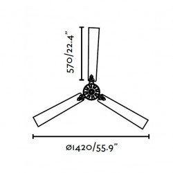 Ventilatore da soffitto, Aoba, 142cm, modernо, nickel opaco, Faro.