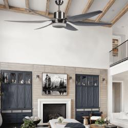Ventilatore da soffitto destratificatore, Hurikane, 167cm, DC, grigio/cromo spazzolato, con luce, Lba Home