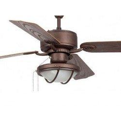 Ventilatore da soffitto,Hierro, 132cm, marrone, con luce, classico, Faro