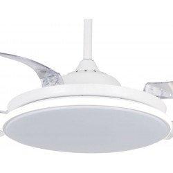 Ventilatore da soffitto, Sefir, 107cm, con pale a scomparsa trasparenti, corpo bianco, design, con luce, Lba Home