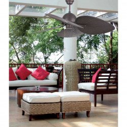 Ventilatore da soffitto,CUBA, 130 cm tropicale, per esterni, marrone, Faro.