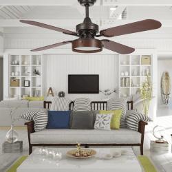 Ventilatore da soffitto, Boreal Marrone, 107cm, marrone scuro/ciliegio-noce, con luce, con telecomando, Lba Home