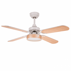 Ventilatore da soffitto, Boreal Blanc, 107cm, bianco/faggio, con luce, con telecomando, Lba Home