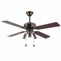 Ventilatore da soffitto, Gala Argento, 107 cm, ottone scuro/noce-ciliegio, con luce, Lba home.
