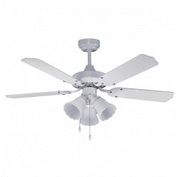 Ventilatore da soffitto, Gabin, 105cm, moderno, bianco, con luce, reversibile, silenzioso, Lba Home