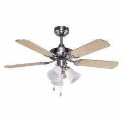 Ventilatore da soffitto, Gabin, 107cm, con luce, nichel/grigio/faggio classico, Lba Home.