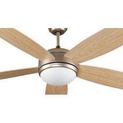 Ventilatore da soffitto, Vanu, 132cm, metallo/grigio, pino, con lcue, faro.