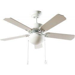 Ventilatore a soffitto, Hero Blanc, 107cm, bianco, con luce, cordicelle,Lba Home