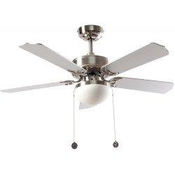 Ventilatore a soffitto, Hero Argent, 107cm, niquel/ argento-faggio, con luce, cordicelle,Lba Home