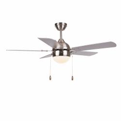 Ventilatore da soffitto, Ponoma, 107cm, nichel/argento/faggio , con luce, moderno, Lba Home.
