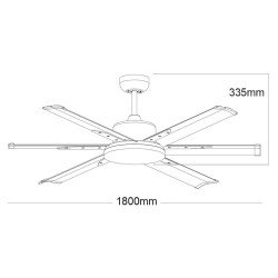 Ventilatore da soffitto, North Star Grigio, 180cm, industriale, DC, niquel/grigio, Lba Home