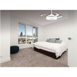 Ventilatore da soffitto, Mastersound, 106,6cm, con pale a scomparsa trasparenti, corpo bianco, con luce, altoparlante, Lba Home