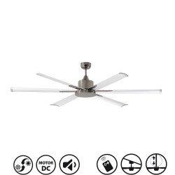 Ventilatore da soffitto, North Star, 180cm, industriale, DC, niquel/bianco, Lba Home