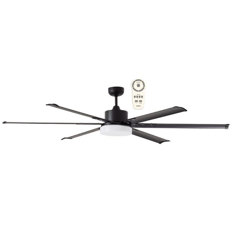 Ventilatore da soffitto, North Star Black, 180cm, industriale, DC, con luce,  nero, lba home.