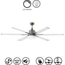 Ventilatore da soffitto, North Star, 210cm, industriale, DC, niquel/bianco, con luce, Lba Home