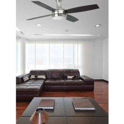 Ventilatore da soffitto, 132cm, Ufo-4, moderno, nichel opaco/ pale nere, con luce, Faro
