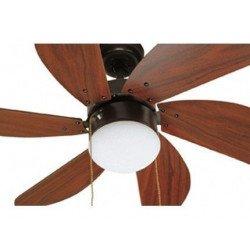 Ventilatore da soffitto, Palao , 81cm, acciaio scuro e pale caoba, con luce, Faro