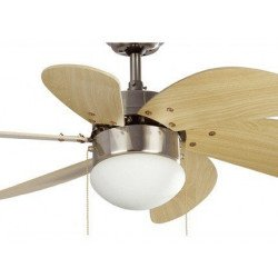 Ventilatore da soffitto, Palao , 81cm, nichel opaco e pale pino con luce, Faro