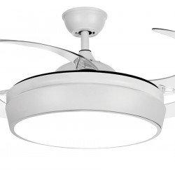 Ventilatore da soffitto, Tulyp white, 107cm, con pale a scomparsa trasparenti, corpo bianco, design, con luce, Lba Home