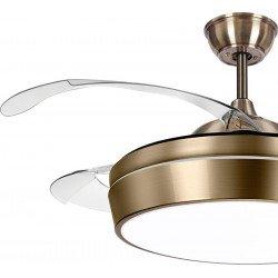 Ventilatore da soffitto, Tulyp Laiton, 107cm, con pale a scomparsa trasparenti, corpo ottone, design, con luce, Lba Home