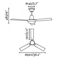 Ventilatore da soffitto, Mini Indus, 92cm, bianco, industriale, Faro.