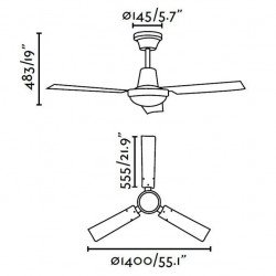 Ventilatore da soffitto, Indus,140cm, cromato, industriale, Faro