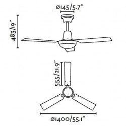 Ventilatore da soffitto, Indus,140cm, bianco, industriale, Faro