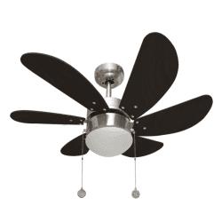 Ventilatore da soffitto, Colores, 85cm, niquel/wengé, con luce, classico, Lba Home