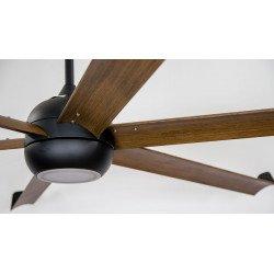 Ventilatore da soffitto/destratificatore, Big Cool Eco 236 WOOD, 236cm, nero/legno, con luce, DC, iper silenzioso, Klassfan