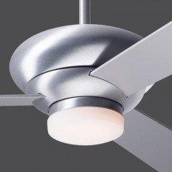 Ventilatore da soffitto, Altus, 132 cm, alluminio spazzolato, con luce, reversibile, ideale Hotel/bar/caffetterie, Modernfan.