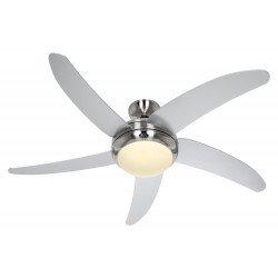 Ventilatore da soffitto, Elica BN-WE, 132cm, silenzioso, cromo spazzolato, pale grigie, con luce, Casafan.