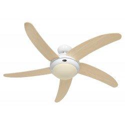 Ventilatore da soffitto, Elica WE-AH, 132cm, silenzioso, corpo bianco lucido, pale acero, con luce, Casafan.