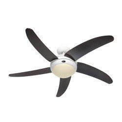 Ventilatore da soffitto, Elica BN-WE, 132cm, silenzioso, bianco lucido, pale Wengé, con luce, Casafan.