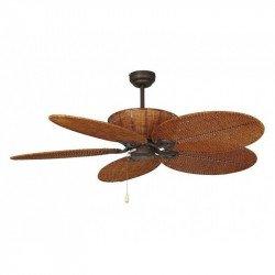 Ventilatore da soffitto, Patio, 132cm, coloniale, senza luce, acciaio marrone anticato, pale vimini, LBA.