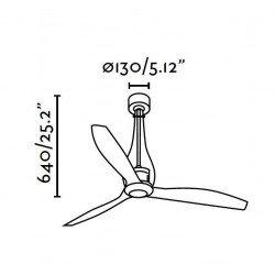Ventilatore da soffitto, Eterfan, 128cm, DC, nero brillante/trasparente, iper silenzioso, design,Faro.