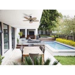 Ventilatore da soffitto, Palma, 130cm, per esterni, stile tropicale, comando a parete, kit luce, Lba Home.