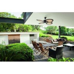 Ventilatore da soffitto, Bali, 130cm, per esterni, stile tropicale, comando a parete, con luce, Lba Home.