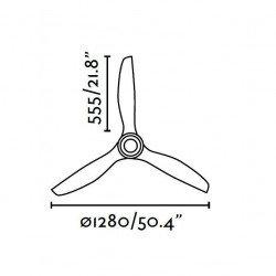 Ventilatore da soffitto, Eterfan, 128cm, DC, nero opaco/trasparente, iper silenzioso, design,Faro.