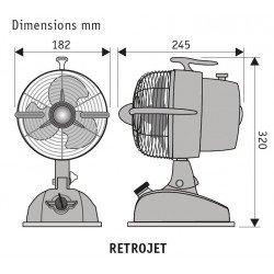 Ventilatore da tavolo, Retrojet, stile retró, rosso rubino, con meccanismo di oscillazione, Casafan.