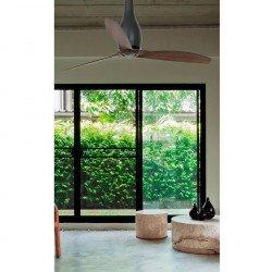 Ventilatore da soffitto, Eterfan, 128cm, DC, nero opaco/legno, iper silenzioso, design,Faro.