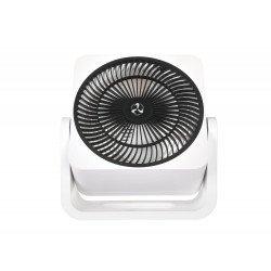 Ventilatore da tavolo, Airos circubox WE, 20cm, corpo bianco griglia nera, con meccanismo di oscillazione, Casafan.