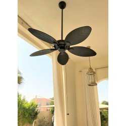 Ventilatore da soffitto, Outdoor Elements Nbod, 137cm, tropicale, per uso interno e esterno, IP44, corpo bronzo nuovo , pale mar