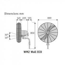 Ventilatore da parete, WM2 wall Eco, 65cm, alte prestazioni, uso industriale, cromato, Casafan.