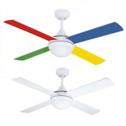 Ventilatore da soffitto, Colore III, 105cm, moderno, bianco e multicolore, con luce, reversibile, Lba Home.