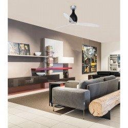Ventilatore da soffitto, Mini Eterfan, 128 cm, DC, corpo nero brillante/pale trasparenti, iper silenzioso, Faro.