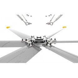 HVLS Ventilatore da soffitto, StatorOM-KQ-7E 380V, industriale, 4.9 m, per superfici fino a  850m2, super efficiente, Klassfan