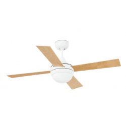 Ventilatore da soffitto, Mini Icaria Blanc, 107 cm, moderno, bianco/faggio, con luce,Faro.