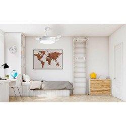 Ventilatore da soffitto, Shiva, 107cm, con pale a scomparsa trasparenti, corpo bianco, design, con luce, Lba Home