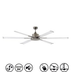 Ventilatore da soffitto, North Star, 210cm, industriale, DC, niquel/bianco, Lba Home